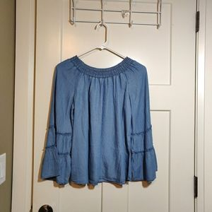 Justice Light Denim Boat Neck Flare Arm Top
